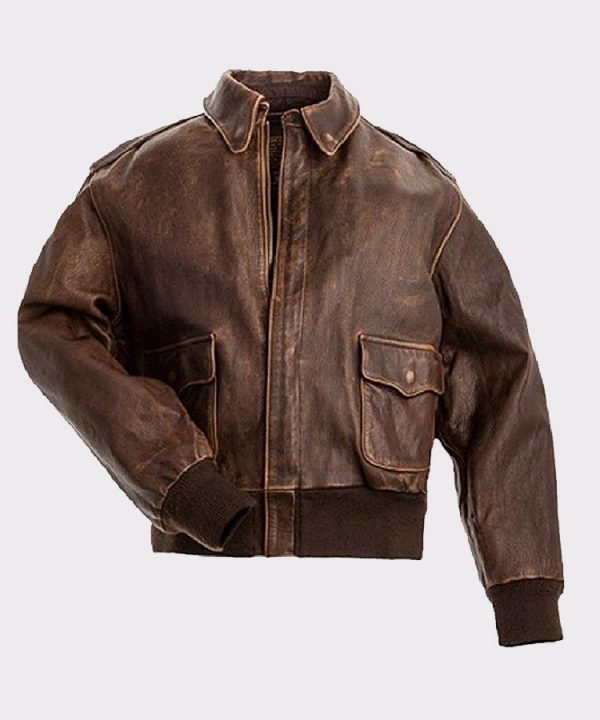 Brown Real Leather Mens Bomber Flight Jacket