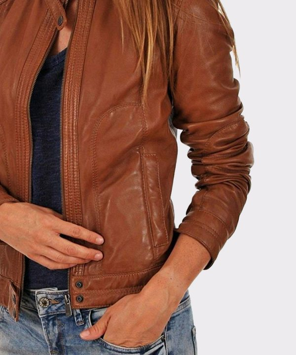 Biker Brown Real Leather Brown Jacket Women