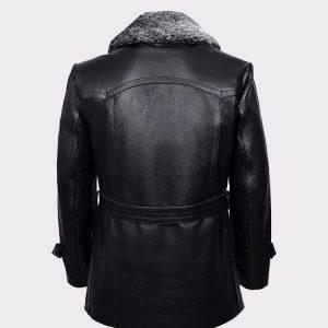 Black Furr Men's Classic Reefer Military Hide Leather Jacket