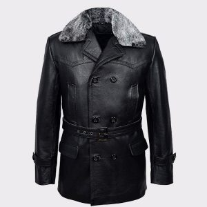 Black Furr Men's Classic Reefer Military Hide Leather Jacket