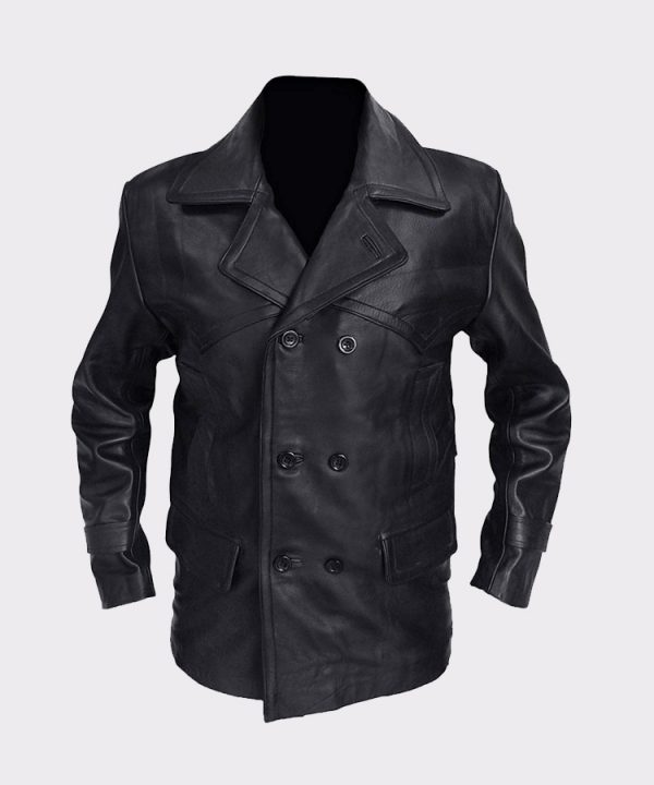Black Real Leather Biker Coat