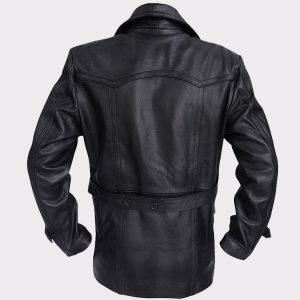 Black Real Leather Biker Coat