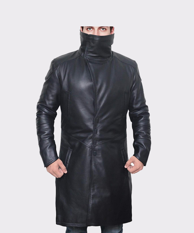 Black Shearling Leather Trench Coat Mens Mready