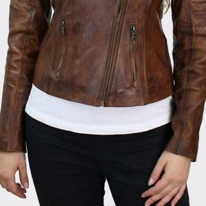 Brown Slim Fit Genuine Real Leather Jacket Outerwear