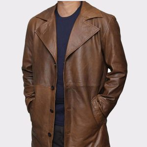 Brown Trench Real leather Long Coat