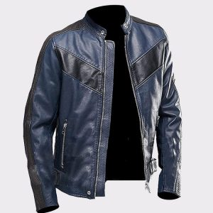 Cafe Racer Navy Blue Vintage Classic Motorcycle Real Leather Jacket