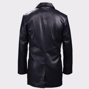 Classic Black Leather Blazer Mens Coat