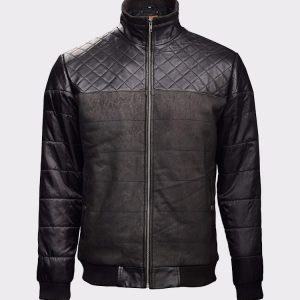 Fashion Black Bomber Leather Jacket