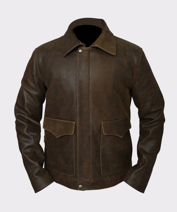 Indiana Jones Harrison Ford Brown Cow Hide Real Leather Jacket