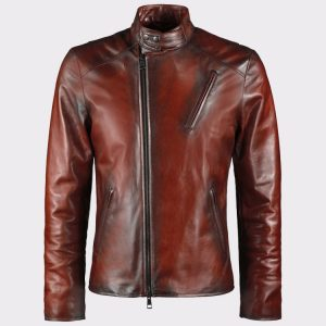 Iron Man Tony Stark Style Men Brown Genuine Leather Jacket