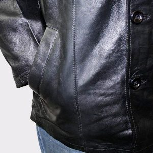 Men Genuine Leather Long car Coat Jacket