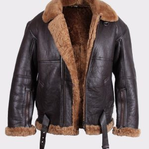 Mens Aviator Leather Jacket Bomber Flying Jacket