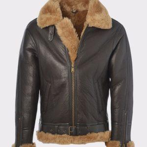 Men's Aviator RAF B3 Bomber Flying Fur Leather Jacket