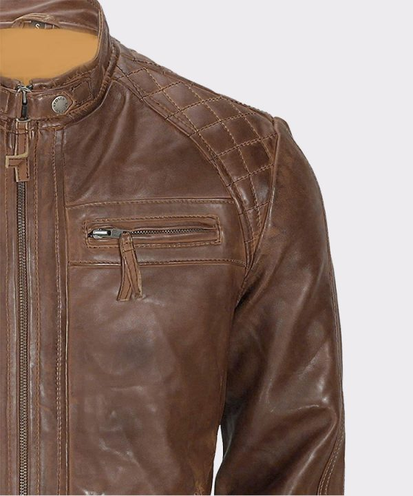 Men's Franco Distressed Brown Genuine Lambskin Leather Jacket