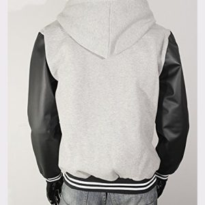 Men's Hoodie Faux Leather Cotton Baseball Varsity Jacket Gray
