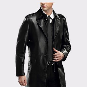 Men's Lapel Business Leather Coat Lambskin Leather Car Coat