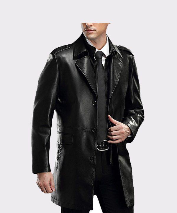 Men's Lapel Business Leather Coat Lambskin Leather Car Coat