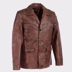 Men's Leather Car Coat Jacket w-Button Front