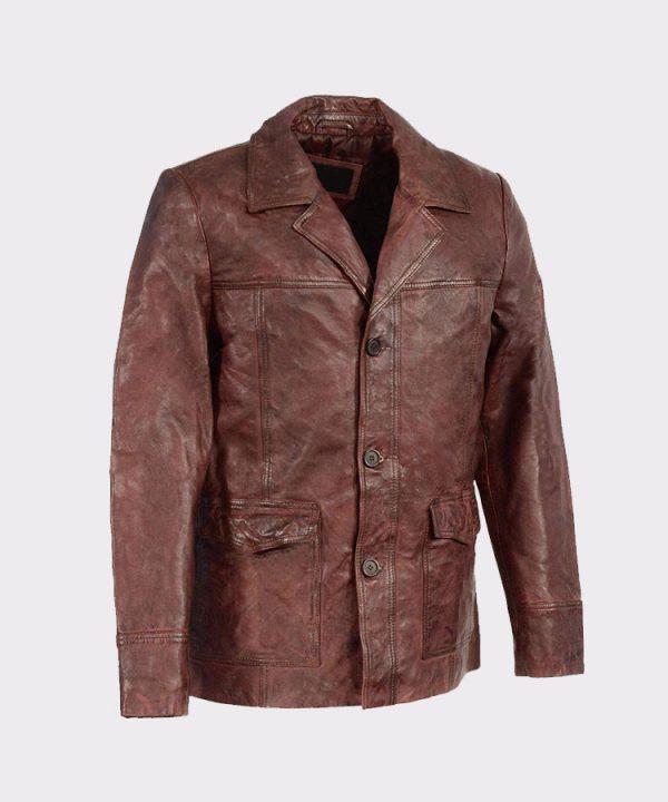 Men's Leather Car Coat Jacket w-Button Front