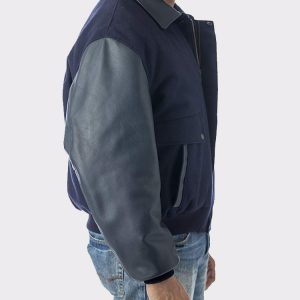 Men's Leather Top Gun Varsity Bomber Jacket