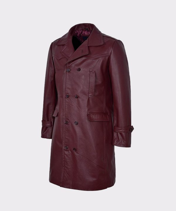 Men's Long Cherry Burgundy Leather Jacket Coat