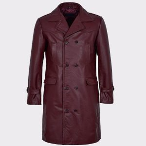 Men's Long Cherry Burgundy Leather Jacket Coat