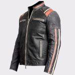 Mens Retro Vintage Cafe Racer Black Biker Real Leather Jacket