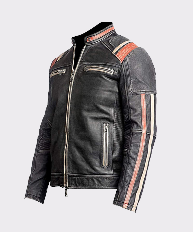 Men Biker Motorcycle Vintage Distressed Brown Genuine Leather Jacket Retro Racer