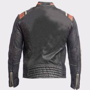Mens Retro Vintage Cafe Racer Black Biker Real Leather Jacket
