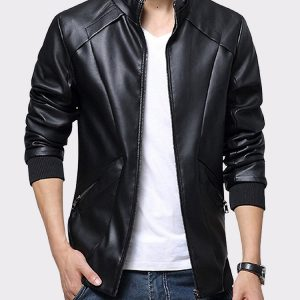 Men's Stand Up Collar Real Leather Jacket Slim Fit