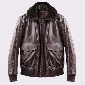 Real Lambskin Brown Aviator Flight Pilot Jacket