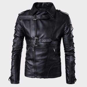 Simit Fashionable Lambskin Biker Black Motorcycle Leather Jacket