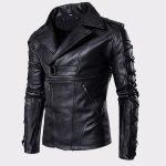 Simit Fashionable Lambskin Biker Black Motorcycle Leather Jacket