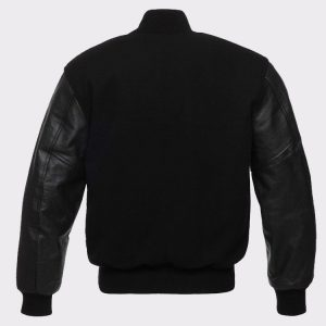 Solid Black Varsity Letterman Wool and Genuine Leather Sleeves Jacket