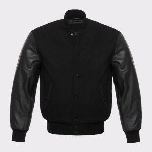 Solid Black Varsity Letterman Wool and Genuine Leather Sleeves Jacket
