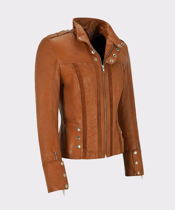 Suede Patch Front Real Lambskin Leather Jacket