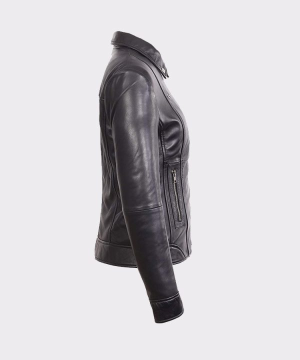 Womens Black Mid Length Asymmetrical Lambskin Real Leather Jacket
