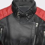 Womens Black Red Vintage Soft Genuine Leather Biker Style Jacket