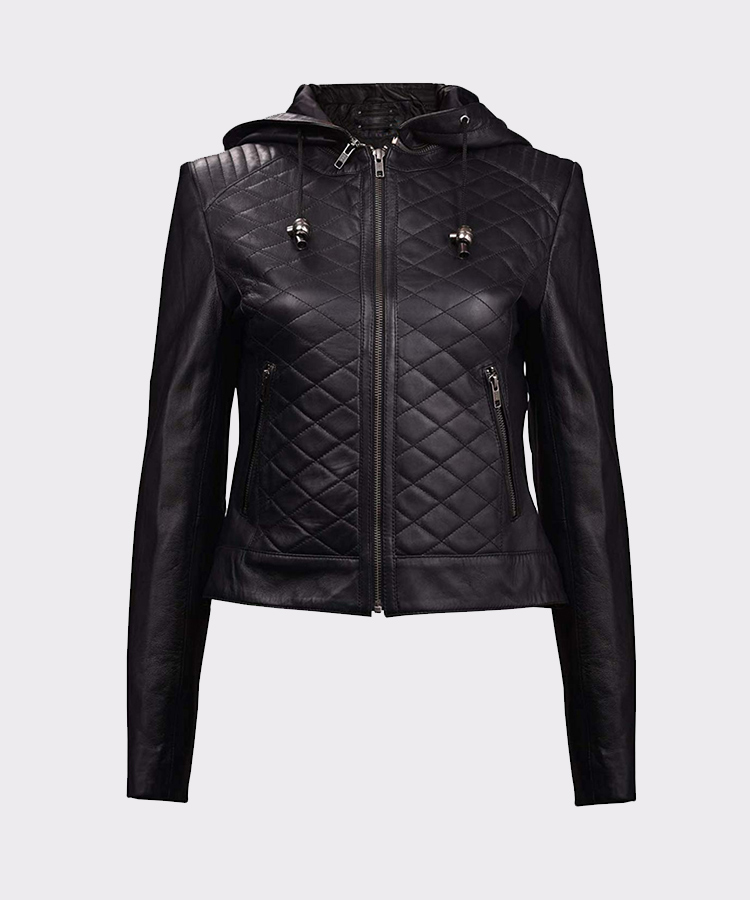 9d71cb12bd702 Womens Leather Quilted Motorcycle Jacket with Hoodie Black-Removable Hood  ...
