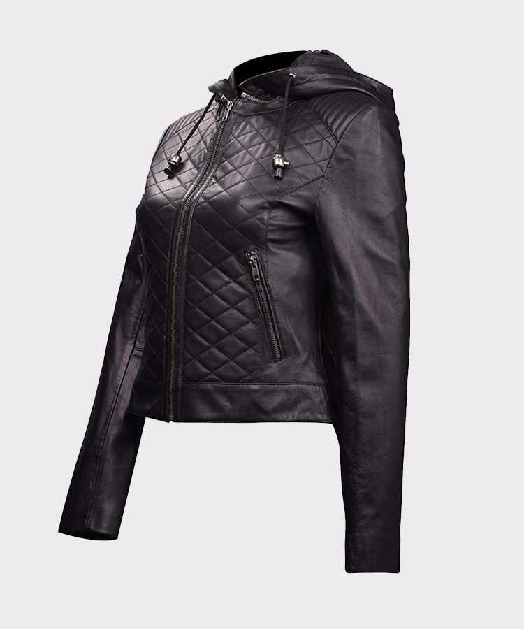 59edab8c3fe97 ... Womens Leather Quilted Motorcycle Jacket with Hoodie Black-Removable  Hood