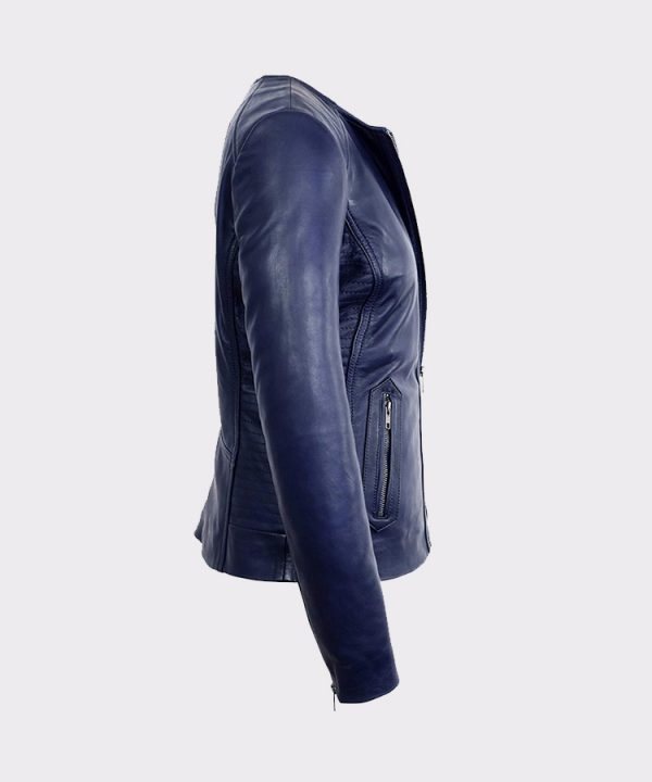 Womens Midnight Blue Collarless Lambskin Real Leather Jacket