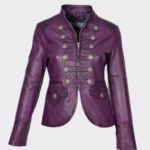 Womens Military Punk Style Real Leather Casual Jacket