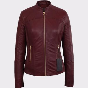 Womens Moto Burgundy Lambskin Real Leather Jacket