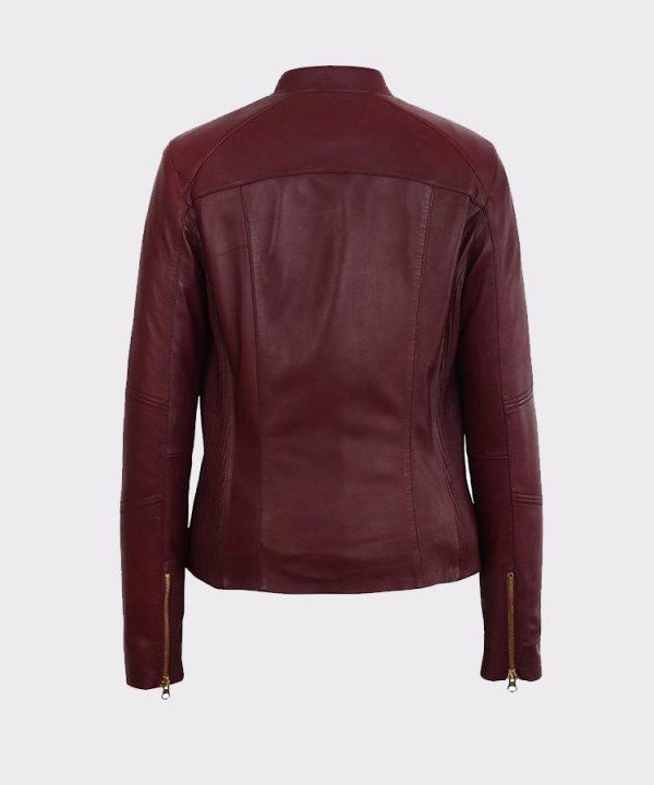 Womens Moto Burgundy Lambskin Real Leather Jacket