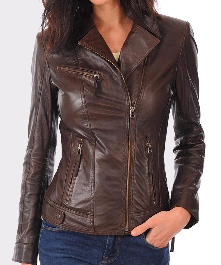 1033ec0380f Women's Real leather lambskin bomber jacket for biker - Mready