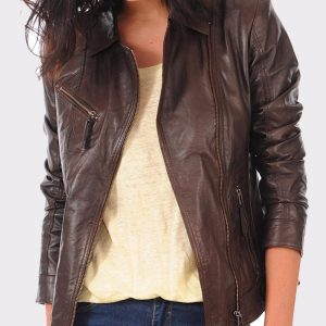 Women's Real leather lambskin bomber jacket for biker