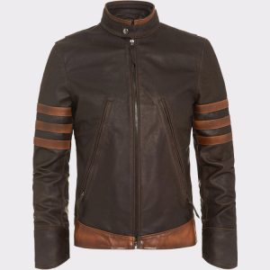 X-Men Wolverine Origins Vintage Style Brown Motorcycle Leather Jacket