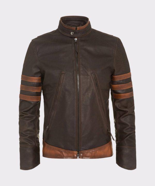 X-Men Wolverine Origins Vintage Style Brown Motorcycle Leather Jacket