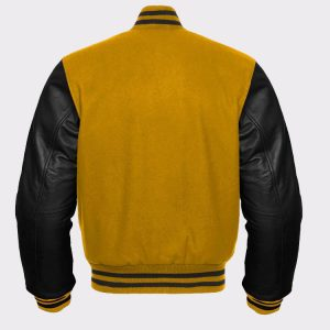 Yellow Wool and Genuine Black Leather Sleeves Baseball Jacket