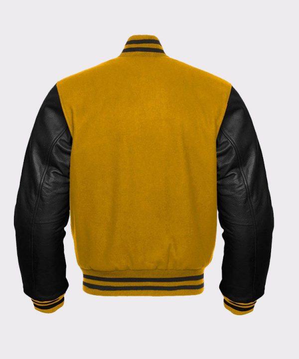 Yellow Wool and Genuine Black Leather Sleeves Baseball Jacket